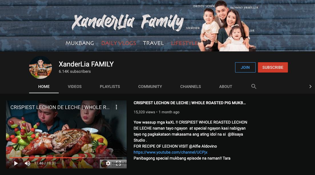 filipino mukbang vloggers xanderlia family